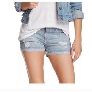 Jolt Blue Striped Distressed Shorts